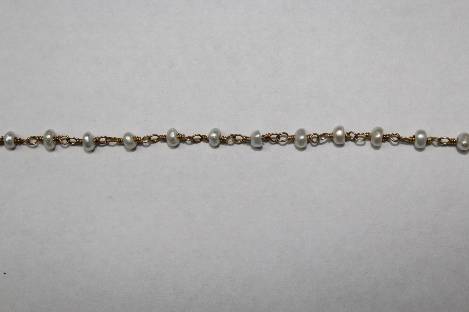 Wire Wrapped Chains, Wire Wrapped Gemstone Chains, Pearl 3-3.5mm 18k ...